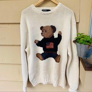 Vintage Ralph Lauren Polo Teddy Bear Sweater M
